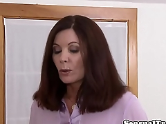 Redhead tgirl ballsucked while jerking