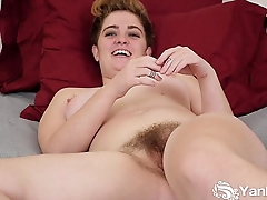 Busty Megan Masturbating Her Hairy Beaver