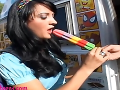 icecream truck finally 18 schoolgirl gets first big cock and cum