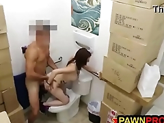 Ghetto Chick Bangs Pawnshop Manager in the Restroom for Cash