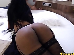 Latina tgirl in stockings showing her asshole