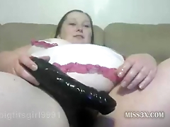 BBW hairy cunt need huge dildo