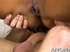 Mature playgirl sucks and swallows