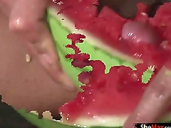 Big ass latina shemale cums hard after pounding a watermelon