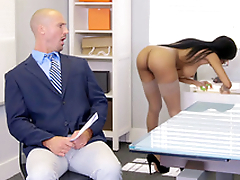 Brittney White gets on the phone with her employee's wife to the fullest seducing him