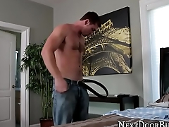 Muscly dude cum covered
