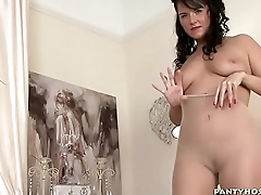 Indulge Rubs Her Pussy Over Pantyhose
