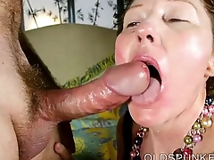 Super cute older lady loves to suck cock and eat cum