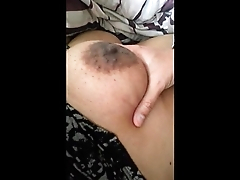 Boob play while wife sleeps